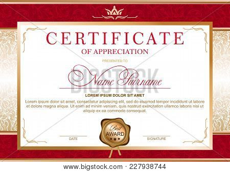 Certificate In The Official, Solemn, Elegant, Royal Style In Red And Gold Tones, With The Image Of T