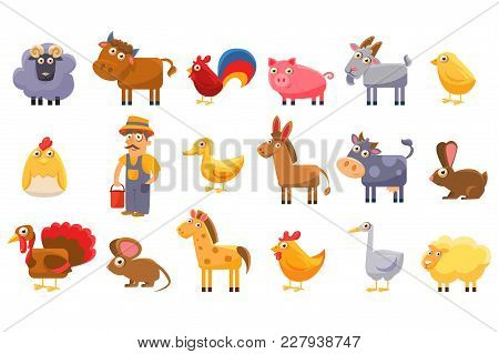 Farm Animals Set, Male Farmer, Livestock And Pets Cartoon Vector Illustrations Isolated On A White B