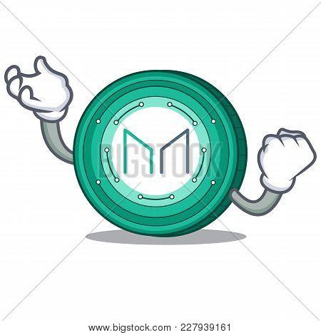 Successful Maker Coin Character Cartoon Vector Illustration