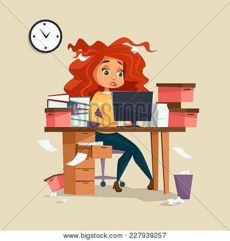 Woman In Office Stress Vector Illustration Of Cartoon Girl Manager Working On Computer With Dishevel