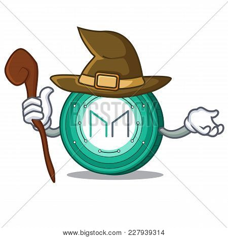 Witch Maker Coin Mascot Cartoon Vector Illustration