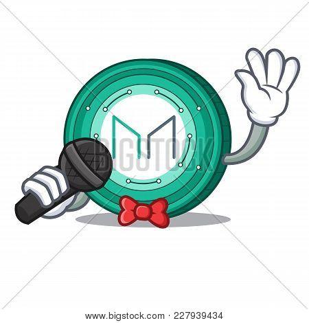 Singing Maker Coin Mascot Cartoon Vector Illustration
