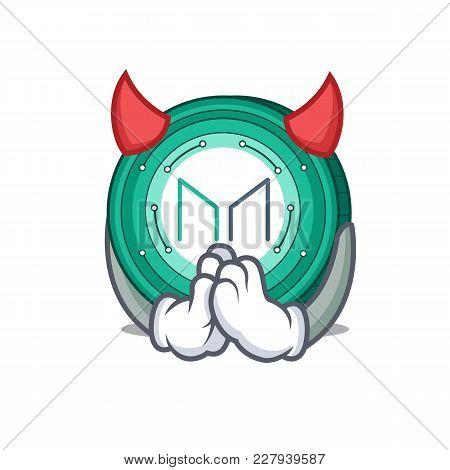 Devil Maker Coin Mascot Cartoon Vector Illustration