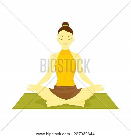 Siddahasana Accomplished Pose Yoga Meditation Vector Illustration Graphic Design