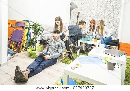 Young People Employee Workers Having Break In Start Up Office - Human Resources Business Concept Wit