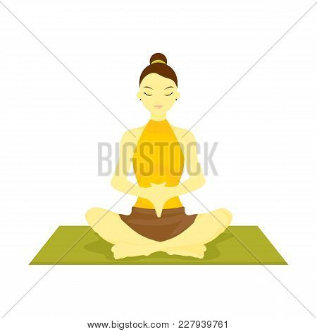 Accomplished Hand Down Prayer Pose Yoga Meditation Vector Illustration Graphic Design