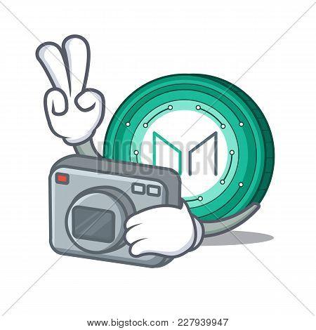 Photographer Maker Coin Mascot Cartoon Vector Illustration