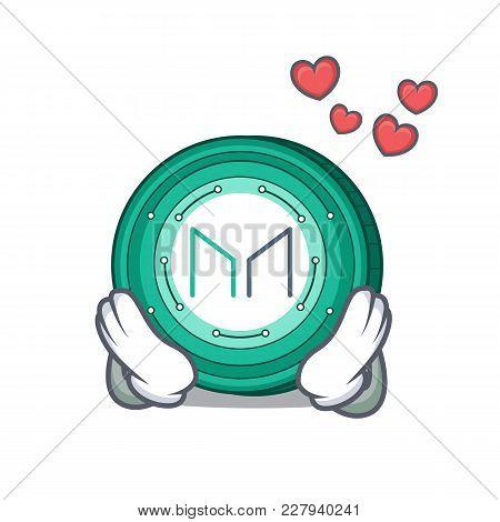 In Love Maker Coin Mascot Cartoon Vector Illustration