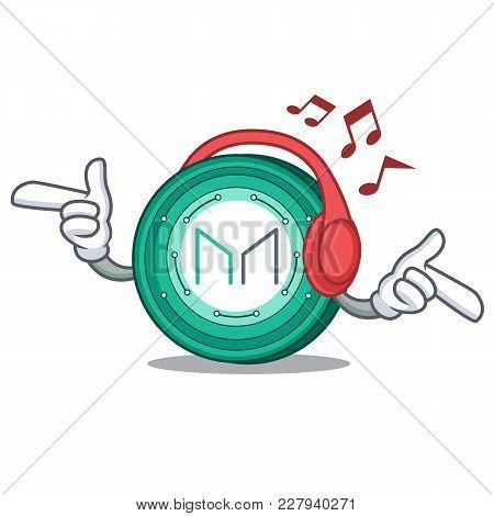 Listening Music Maker Coin Mascot Cartoon Vector Illustration