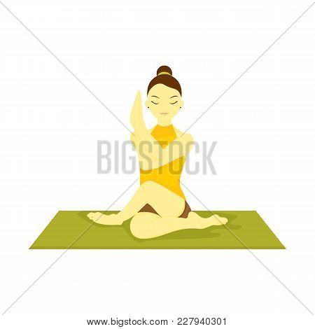Half Lord The Fishes Pose Yoga Meditation Vector Illustration Graphic Design