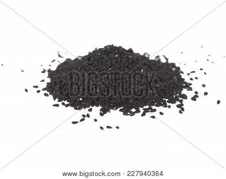 Nigella Sativa (black Cumin) Seeds Over White