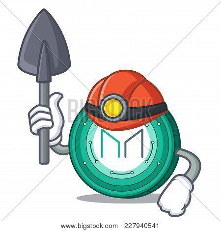 Miner Maker Coin Mascot Cartoon Vector Illustration