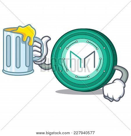 With Juice Maker Coin Mascot Cartoon Vector Illustration