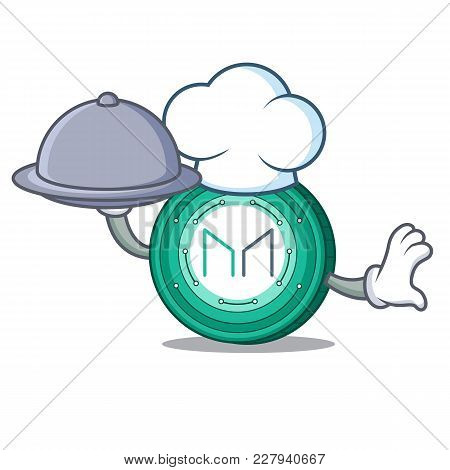 Chef With Food Maker Coin Mascot Cartoon Vector Illustration