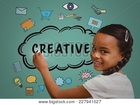 Digital composite of Kid writing creative doodles on green background
