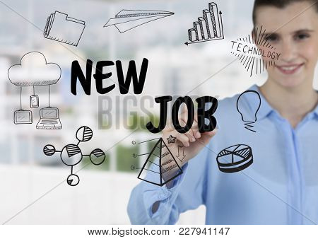 Digital composite of Young woman writing a new job graphic