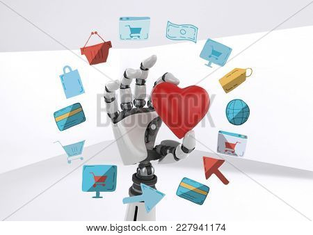 Digital composite of Android hand holding heart with online shopping drawings graphics