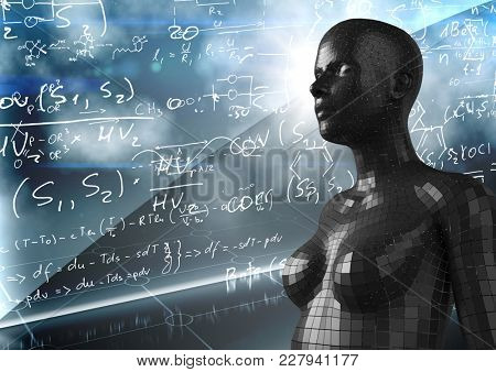 Digital composite of 3D black female AI against wall with math doodles