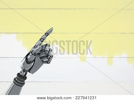 Digital composite of Android Robot hand pointing with bright wood background