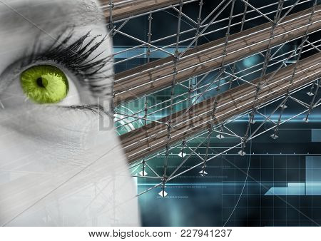 Digital composite of Eye with technology interface and 3D Scaffolding