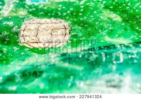 Closeup View Ice Frozen Credit Debit Card .