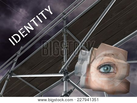 Digital composite of Identity Text with 3D Scaffolding and eye structure