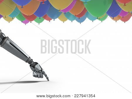 Digital composite of Android hand pointing with balloons