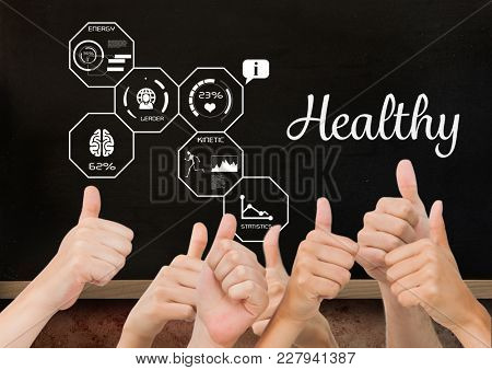 Digital composite of Thumbs up healthy