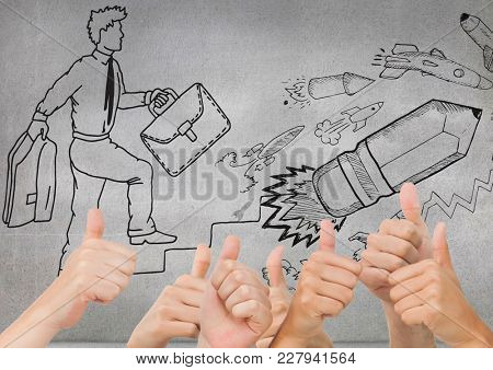 Digital composite of Thumbs up wall with drawing about grow