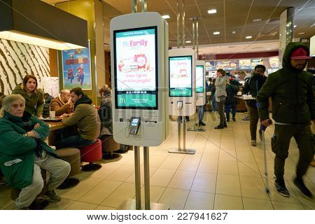 ROME, ITALY - CIRCA NOVEMBER, 2017: self-ordering kiosks at McDonald's restaurant in Rome.