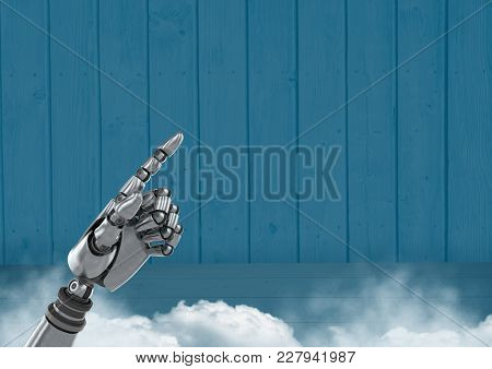Digital composite of Android Robot hand pointing with blue background