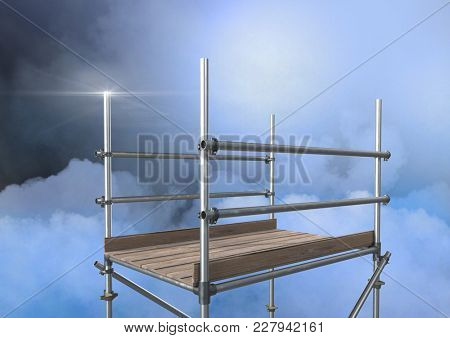 Digital composite of Mysterious clouds with 3D Scaffolding
