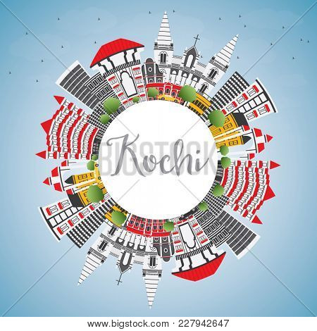 Kochi India City Skyline with Color Buildings, Blue Sky and Copy Space. Business Travel and Tourism Concept with Historic Architecture. Kochi Cityscape with Landmarks.