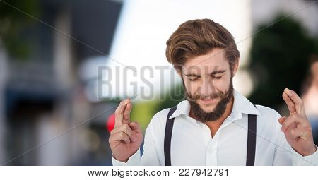 Digital composite of Young men with finger crossed in the street
