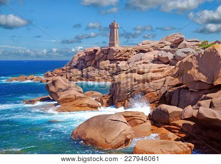 View Of Famous Lighthouse Of Ploumanach In Brittany At North Sea,channel,france