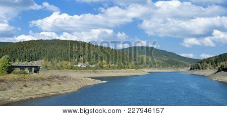 Panoramic View Of Oker Reservoir In Harz Mountain,lower Saxony,germany