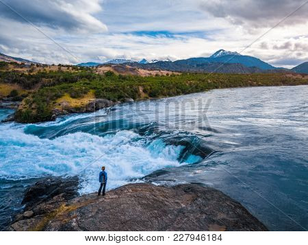 River of Baker with mountains on the background. Chile
