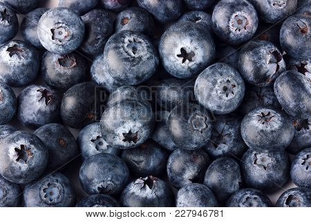 Blueberry, Bilberry. Background Of Ripe Large Berries, Top View. Texture, Food.