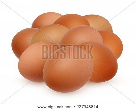 Ten Brown Chicken Egg Isolated On White Background With Shadow. Bunch Of A Dozen Eggs.