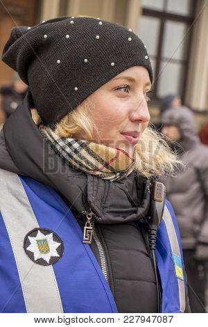 Kiev, Ukraine - January 18th: A Ukrainian Girl Is A Representative Of The Police Of Communication, C