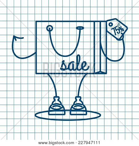 Sale At Low Prices, Cartoon Shopping Bag With A Smile, Linear Style