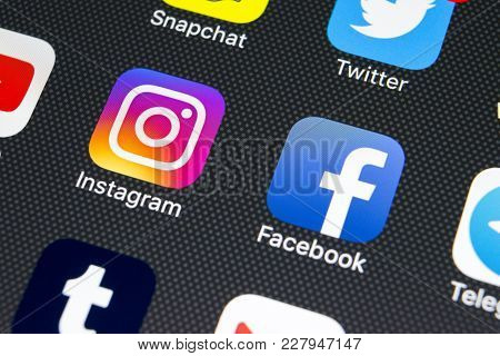 Sankt-petersburg, Russia, February 23, 2018: Apple Iphone X With Icons Of Social Media Facebook, Ins