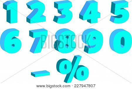 A Set Of Numbers With The Effect Of 3-d, For Sales, In Blue Shades, Vector