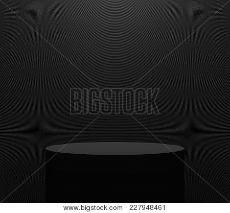 Product Display Stand With Black Color 3d Rendering Image,there Are Black Cylinder Stand With Black