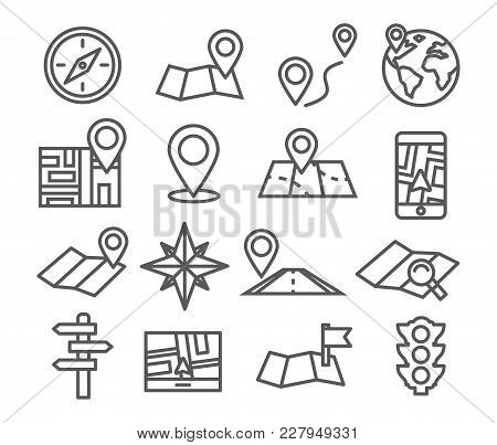 Navigation And Map Line Icons With White Background