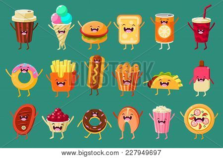 Funny Fast Food Comic Characters Sett, Ice Cream, Coffee, Hot Dog, Pizza, French Fries, Toast, Burge