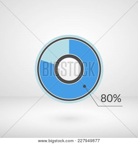80 Percent Pie Chart Isolated Symbol. Percentage Vector Infographics. Circle Diagram Sign. Business