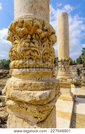 Ancient Roman Columns In The Ancient City Of Bet Shean, Now A National Park. Northern Israel