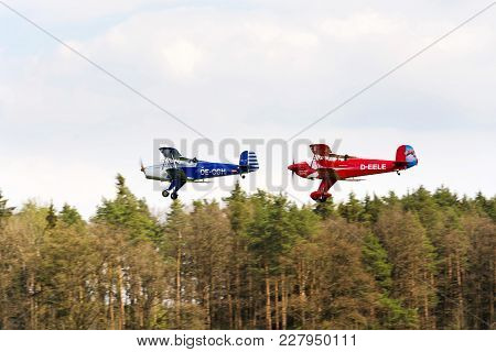 Plasy, Czech Republic - April 30: Biplanes Bucker Bu-131 Jungmann Produced Under Licence As Tatra T-