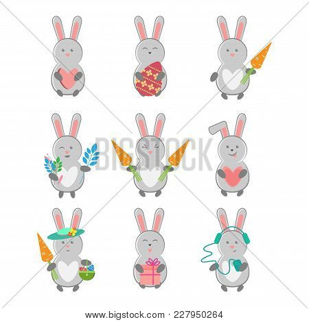 Vector Set Of Hare With Different Subjects - Heart, Easter Egg, Carrot, Flowers, Basket, Gift, Headp